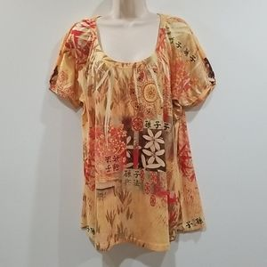 B.L.E.U woman multi color 1x blouse